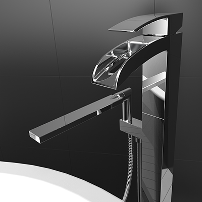 Free-standing bathtub faucet with hand shower