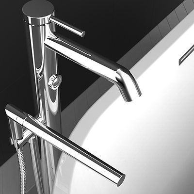 Free-standing bath faucet