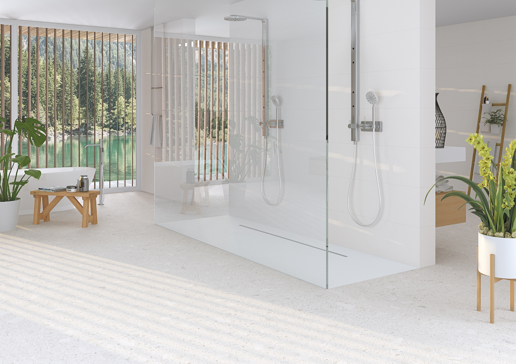 White Terrazzo Bathroom Shower